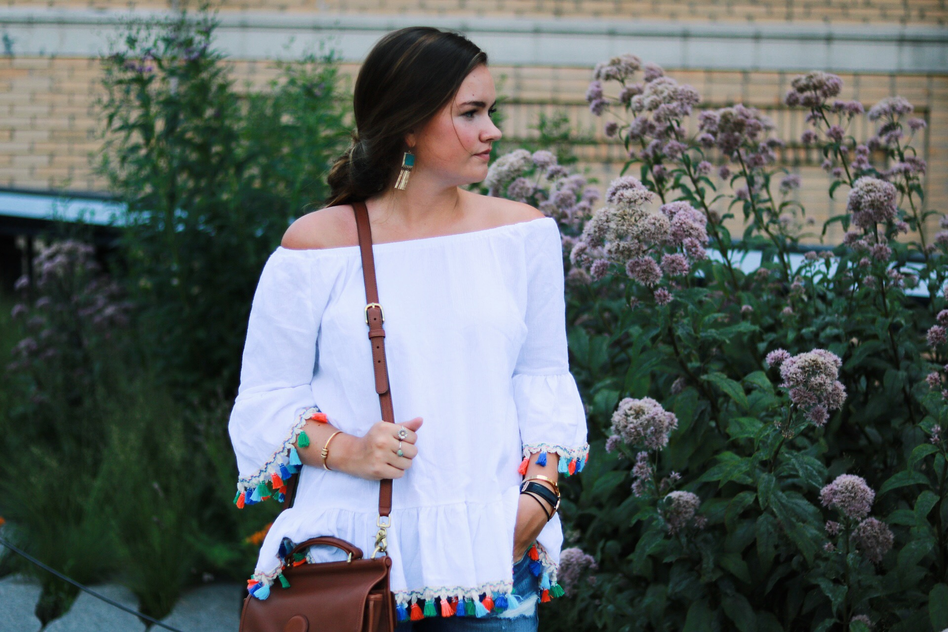 Chicwish Off the shoulder tassel top on the NYC Highline