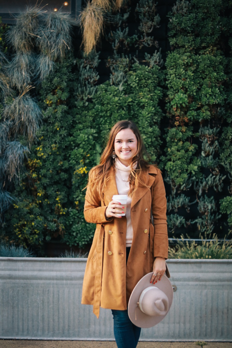 Fall Suede Trench Coat and Anthropologie Blush Turtleneck on Casual Fall Weekends