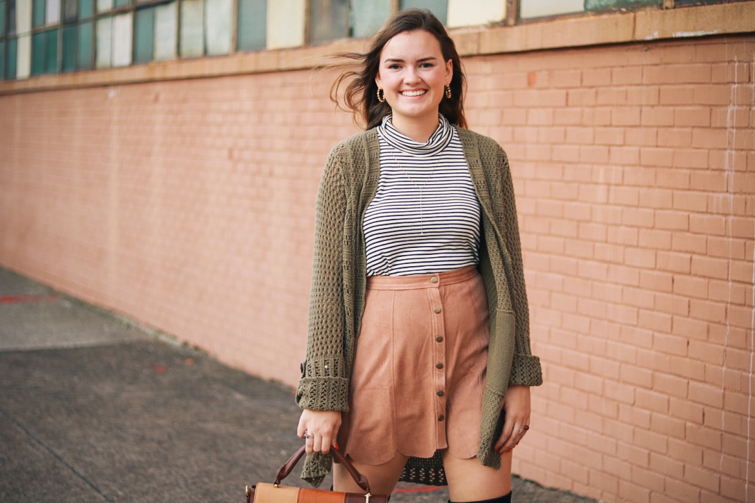 Scalloped Suede Skirt