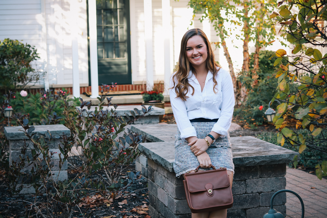 White Button Down with Tweed Skirt