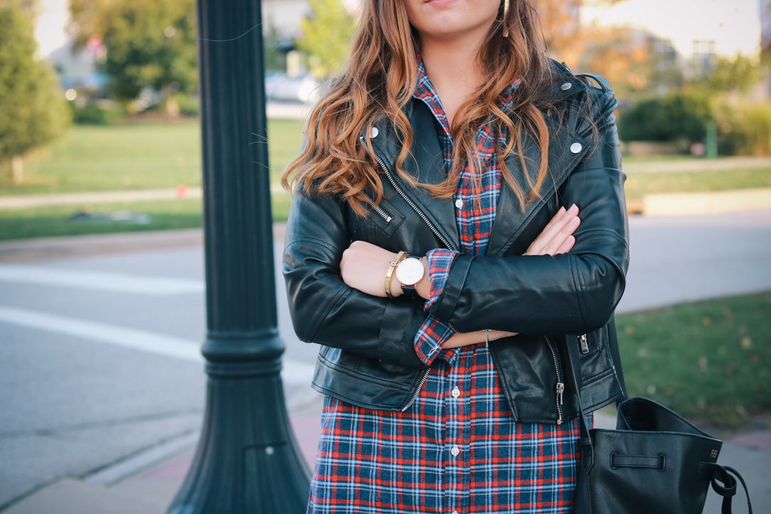 Frank & Eileen Plaid Button Down Shirt Dress and Leather Jacket