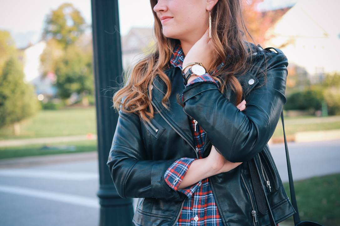 Frank and Eileen Plaid Shirt Dress and Leather Jacket