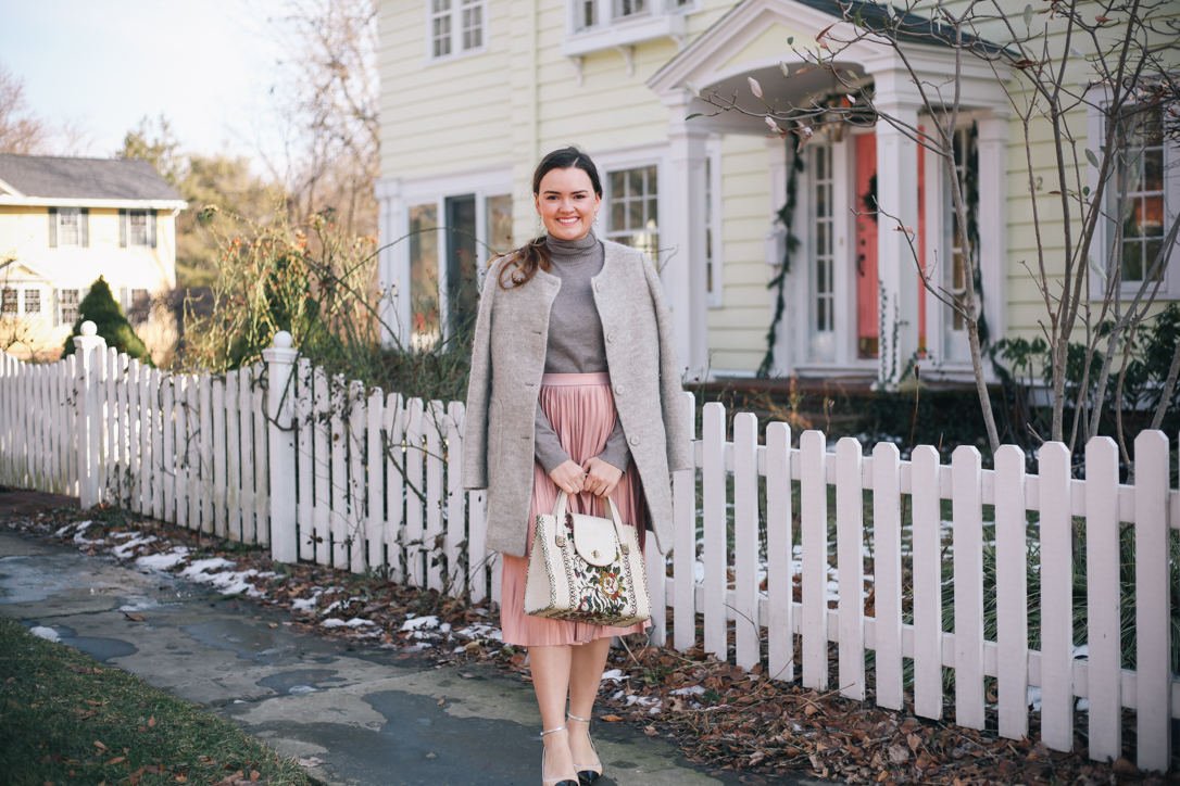 Transitioning Wardrobes- Transitional Spring Outfits with Pink Midi Skirt and Zara Heels