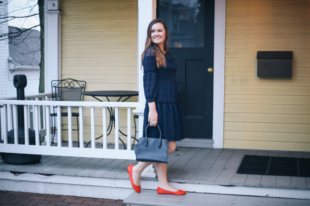 Spring Dresses Under 100 Dollars wearing Navy Blue Banana Republic Fit and Flare Dress.
