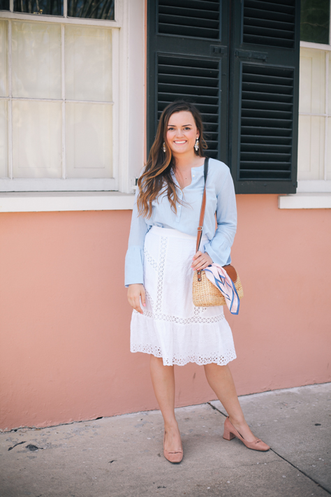 5 Basics to Have in Your Wardrobe this Spring | Rachel Broas of Simplypoisedfashion.com and @rachellaurenlucy | Charleston, SC | Lucky Brand White Eyelet Midi Skirt and Loft Blue Top, Seagrass Tote and Zara Block Heels