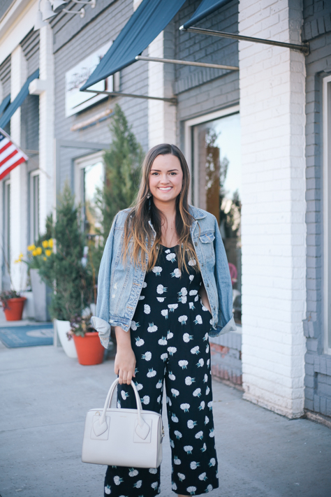 Spring Jumpsuits You Do Not Want to Miss | Rachel Broas of Simplypoisedfashion.com | @rachellaurenlucy | Printed Loft Jumpsuit, Old Navy Denim Jacket, Anne Klein Handbag, and DSW Mules in Hudson, Ohio