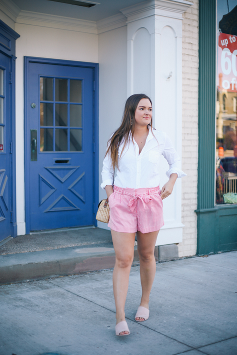 My Favorite Shorts for Summer and Spring | Rachel Broas of simplypoisedfashion.com | @rachellaurenlucy | Frank and Eileen Button Down, Loft Pink Pinstripe Bow Shorts, Seagrass Tote and DSW Pink Mules