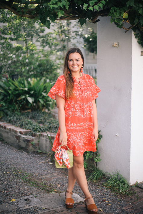 Red Spring Loft Dress with Green Handbag and Scarf in Charleston paired with Seychelles Forward Wedges