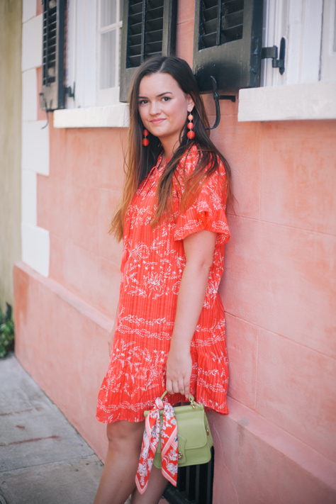 Red Spring Dress In Downtown Charleston And My Favorite
