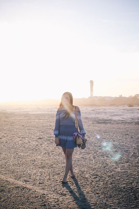 Blue Spring Dress on Sullivan's Island | Rachel Broas of Simplypoisedfashion.com| Rent the Runway Tory Burch Blue Embroidered Off the Shoulder Dress with Loft Scarf, Sandals and Sunglasses, and Seagrass Tote
