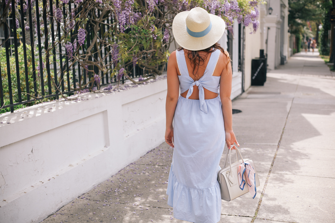 Blue Spring Midi Dress from Maude with Banana Republic Straw Hat in Charleston with Wisteria | @rachellaurenlucy| Simply Poised Fashion
