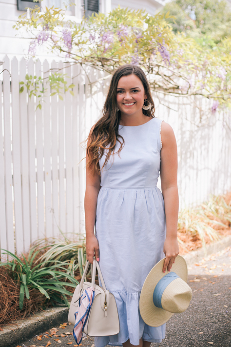 Blue Spring Midi Dress from Maude with Banana Republic Straw Hat in Charleston with Wisteria   @rachellaurenlucy  Simply Poised Fashion