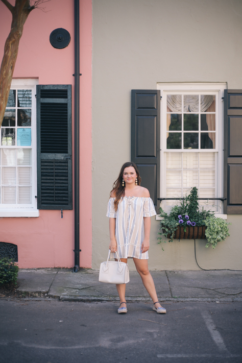 Simply Poised Fashion @Rachellaurenlucy in Maude J.O.A. Striped Off the Shoulder Dress, Anne Klein Handbag, Anthropologie Espadrilles and Bauble Bar Trio Spring Statement Earrings in Downtown Charleston