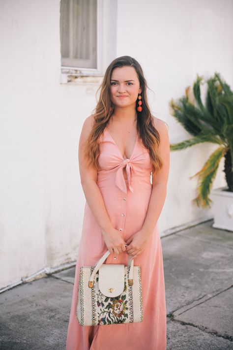 Simply Poised Tie Front Dress and the Perfect Beach Dresses- Pink Mara Hoffman Tie Front Dress Rent the Runway, Bauble Bar Drop Earrings, Vintage Paris Purse, Old Navy Sandals in Charleston, South Carolina