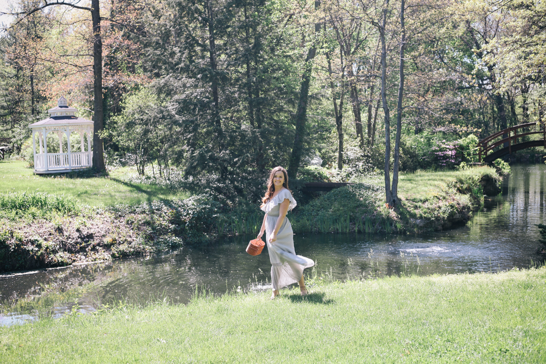 Grey Summer Maxi Dress | @rachellaurenlucy Rachel Broas from Simply Poised (simplypoisedfashion.com) | Just One Answer Dress with Easy Wicker Handbag at Stan Hywet Hall and Gardens in Akron, Ohio
