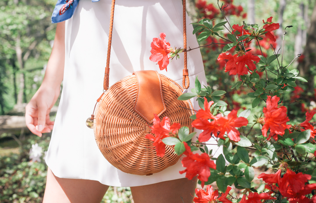 Summer Accessories with J McLaughlin | Rachel Broas of @rachellaurenlucy of simplypoisedfashion.com | Loft White Tee, J Crew Skirt, J McLaughlin Wicker Purses, Sunglasses and Scarves