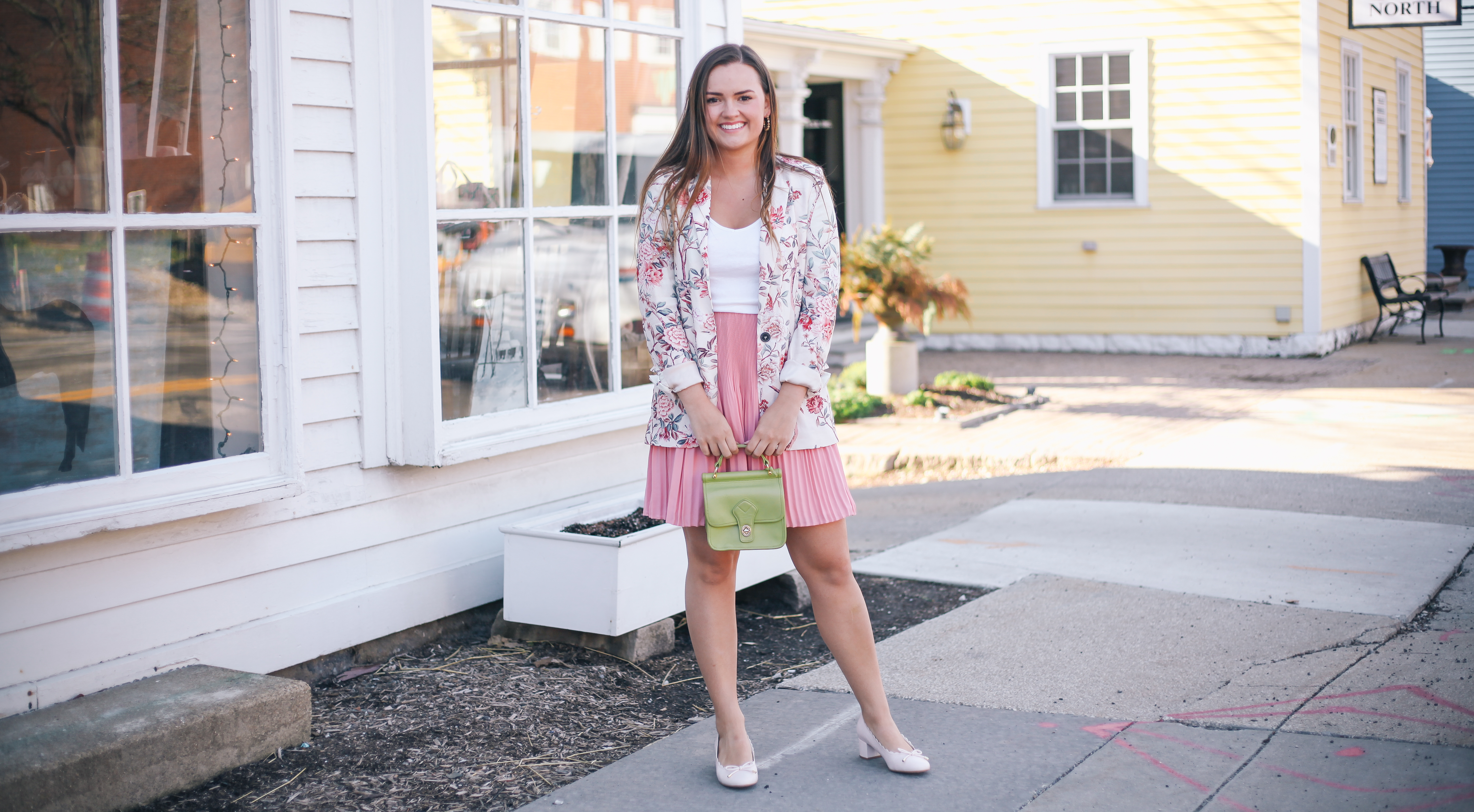 Floral Pieces You Do not Want to Miss Out On Zara Floral Blazer with Loft Pink Skirt and DSW Pink Heels