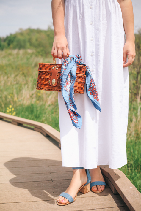 Summer White Dresses | Simply Poised Fashion @rachellaurenlucy | Asos White Maxi Dress, Steve Madden Heels, J Mclaughin Scarf, Etsy Vintage Basket Bag