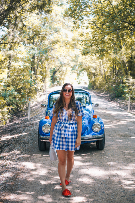 1977 Vintage Blue Bug Convertible with ASOS Blue Gingha Dress and Red Pom Slides in Mckinney, TX| Simplypoisedfashion.com @rachellaurenlucy