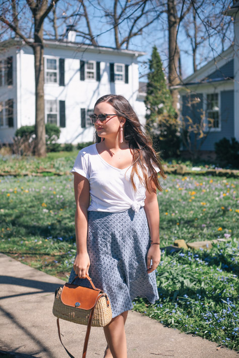 Spring and Summer Fashion Style Round Up Anthro White Tee and Loft Blue Midi Skirt with Seagrass Handbag in Downtown Hudson, Ohio- Simply Poised Fashion @rachellaurenlucy simplypoisedfashion.com