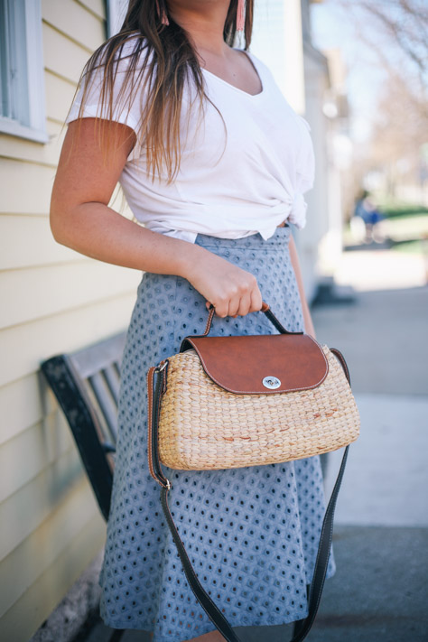 Spring and Summer Fashion Style Round Up Anthro White Tee and Loft Blue Midi Skirt with Seagrass Handbag in Downtown Hudson, Ohio- Simply Poised Fashion simplypoisedfashion.com @rachellaurenlucy