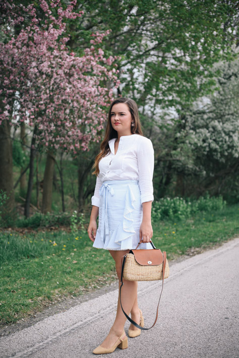 Spring and Summer Fashion Style Round Up Bloomingdale's Moon River - Aqua Blue and White Stripe Skirt with Ruffle and Seagrass Wicker Crossbody and Zara Heels- Simply Poised Fashion @rachellaurenlucy simplypoisedfashion.com