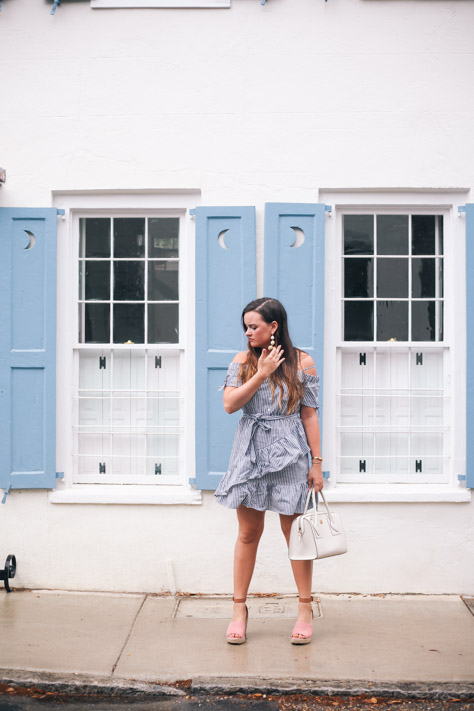 End of Summer Blue Asos Ruffled Dress with Coconut Nordstrom Wedges and Anne Klein Purse in Downtown Charleston, SC- Simply Poised Fashion simplypoisedfashion.com @rachellaurenlucy