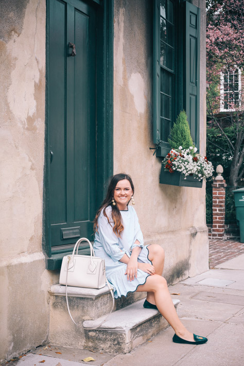 End of Summer Blue Dropwaist Zara Dress with Navy Zara Pineapple Velvet Loafers and Anne Klein Purse in Downtown Charleston, SC- Simply Poised Fashion simplypoisedfashion.com @rachellaurenlucy