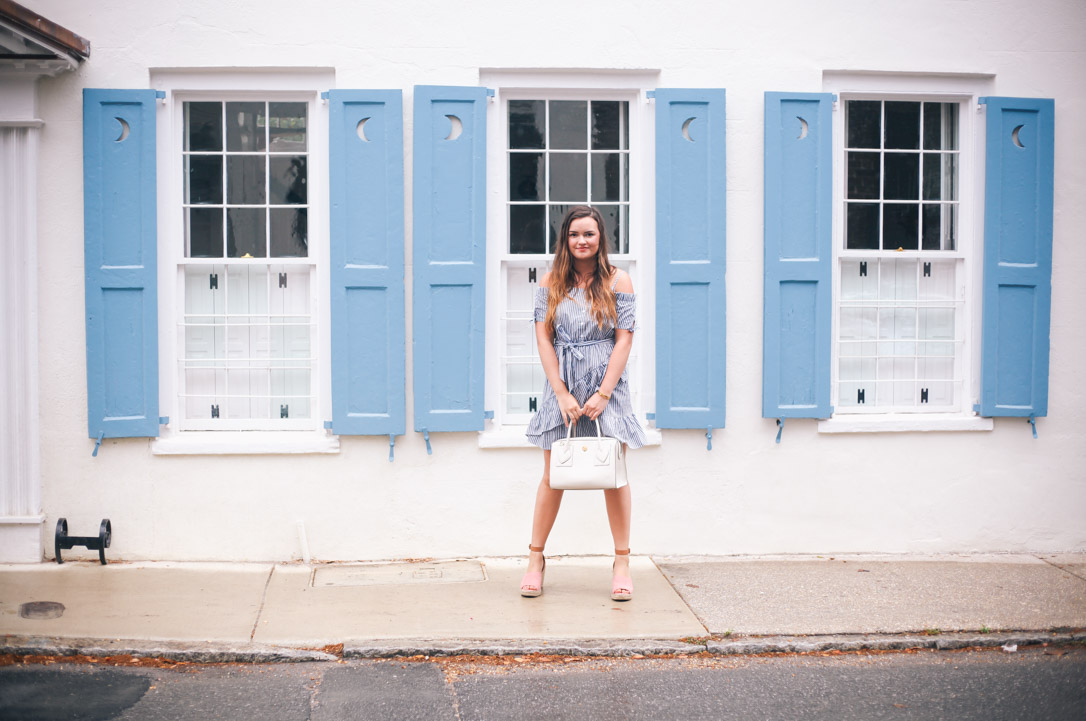 End of Summer Blue and white Asos Ruffled Dress with Coconut Nordstrom Wedges and Anne Klein Purse in Downtown Charleston, SC- Simply Poised Fashion simplypoisedfashion.com @rachellaurenlucy