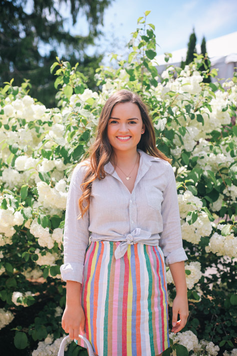 Spring and Summer Fashion Style Round Up J. Crew Stripe Skirt and Frank and Eileen Button Down for Casual Days- Simply Poised Fashion @rachellaurenlucy-3