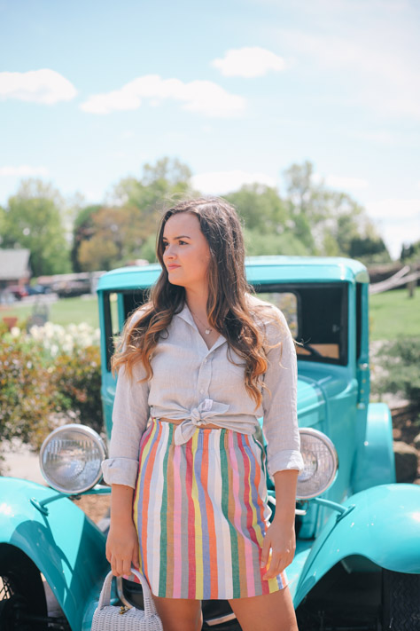 Spring and Summer Fashion Style Round Up J. Crew Stripe Skirt and Frank and Eileen Button Down- Simply Poised Fashion simplypoisedfashion.com @rachellaurenlucy