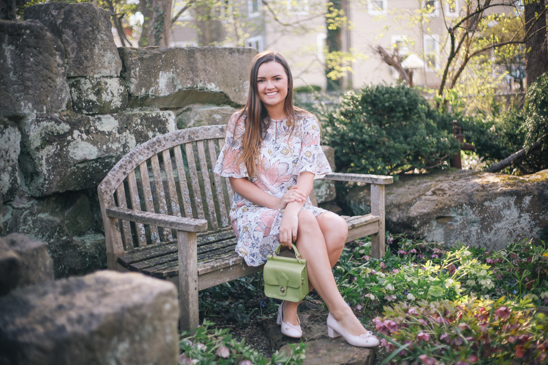 Spring and Summer Fashion Style Round Up Loft Floral Dress with DSW Pink Heels and Green Small Handbag in Hudson, Ohio- Simply Poised Fashion @rachellaurenlucy-1