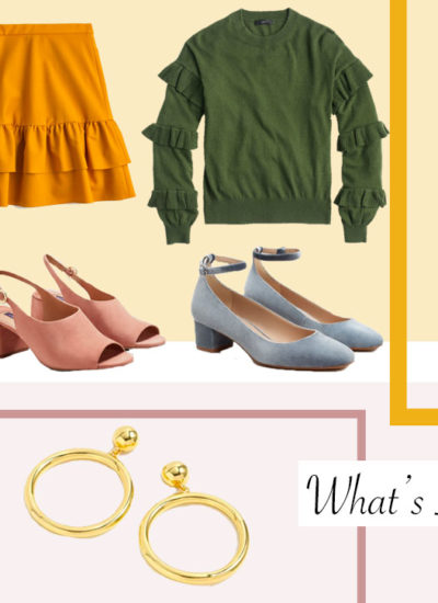 What's In My Cart One- Mustard, Ruffles, Block Heels, and Gold Accents
