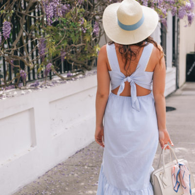 Blue Spring Midi Dress Amidst Wisteria in Charleston