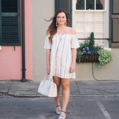 Spring Statement Earrings and Striped Off the Shoulder Dress