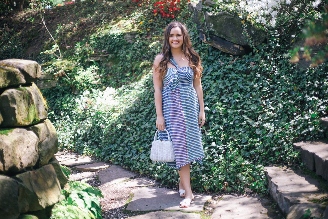 Anthropologie Tag Sale Favorites at Stan Hywet | Simplypoisedfashion.com Simply Poised @rachellaurenlucy | Anthropologie One Shoulder Dress, JCREW White Sandals, Etsy White Straw Bag