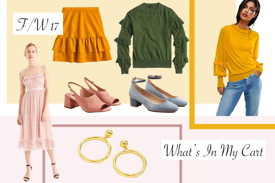 What Is In My Cart- Fall Finds, Ruffles, Mustard, Block Heels and Gold Accents