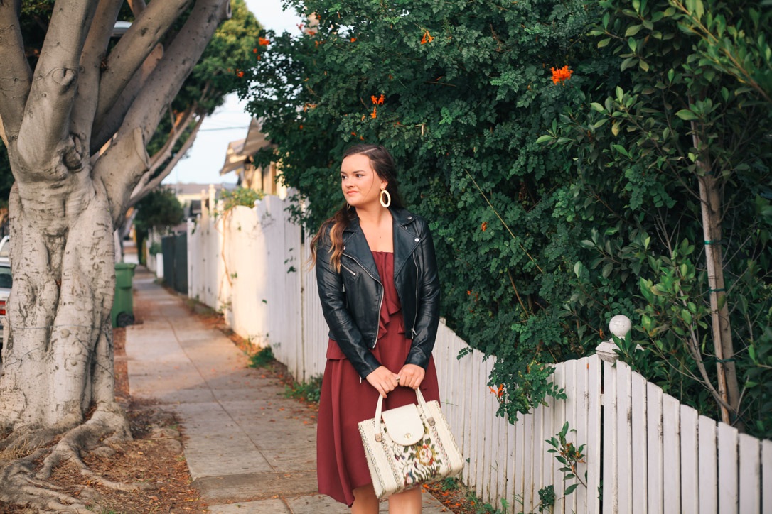 Holiday Dresses - Charles Henry Burgundy Tie Waist One Shoulder Dress With Mango Leather Jacket in Santa Monica, CA from Rachel Broas of Simply Poised, simplypoisedfashion.com @rachellaurenlucy