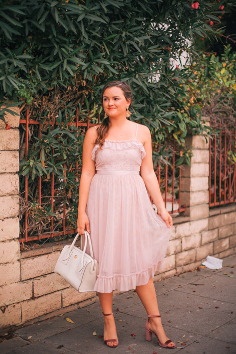 Pink J Crew Holiday Dress with Anne Klein Handbag, Sole Society Gold Earrings and Steve Madden Velvet Heels in Santa Monica from Rachel Broas simplypoisedfashion.com @rachellaurenlucy